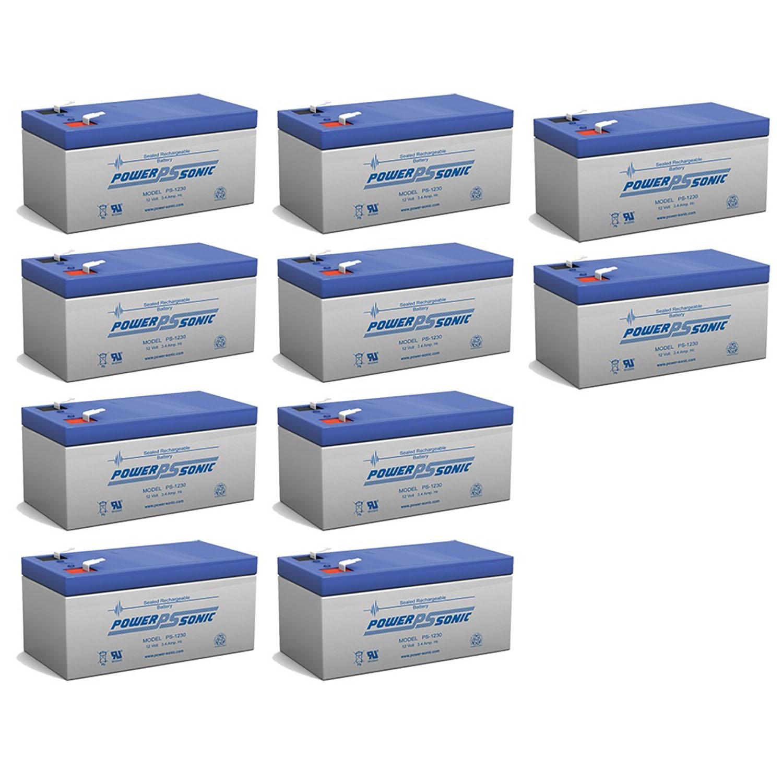 12V 3.4AH Sealed Lead Acid (SLA) Battery - T1 Terminals - for ZB-12-3.5 - 10 Pack