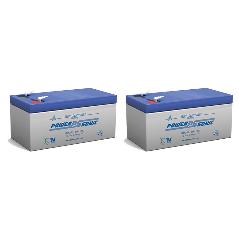 12V 3.4AH Sealed Lead Acid (SLA) Battery - T1 Terminals - for ZB-12-3.3 - 2 Pack