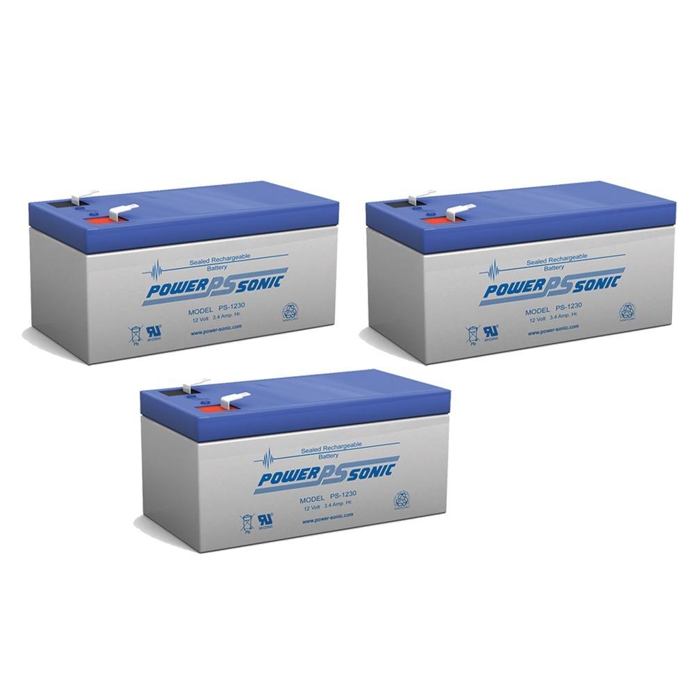 12V 3.4AH Sealed Lead Acid (SLA) Battery - T1 Terminals - for ZB-12-3.3 - 3 Pack