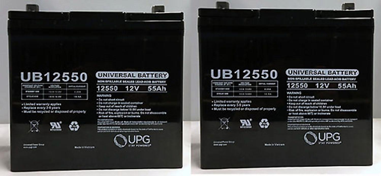 Pride BATLIQ1018 12V 55Ah Sealed AGM Battery Group 22NF - 2 Pack