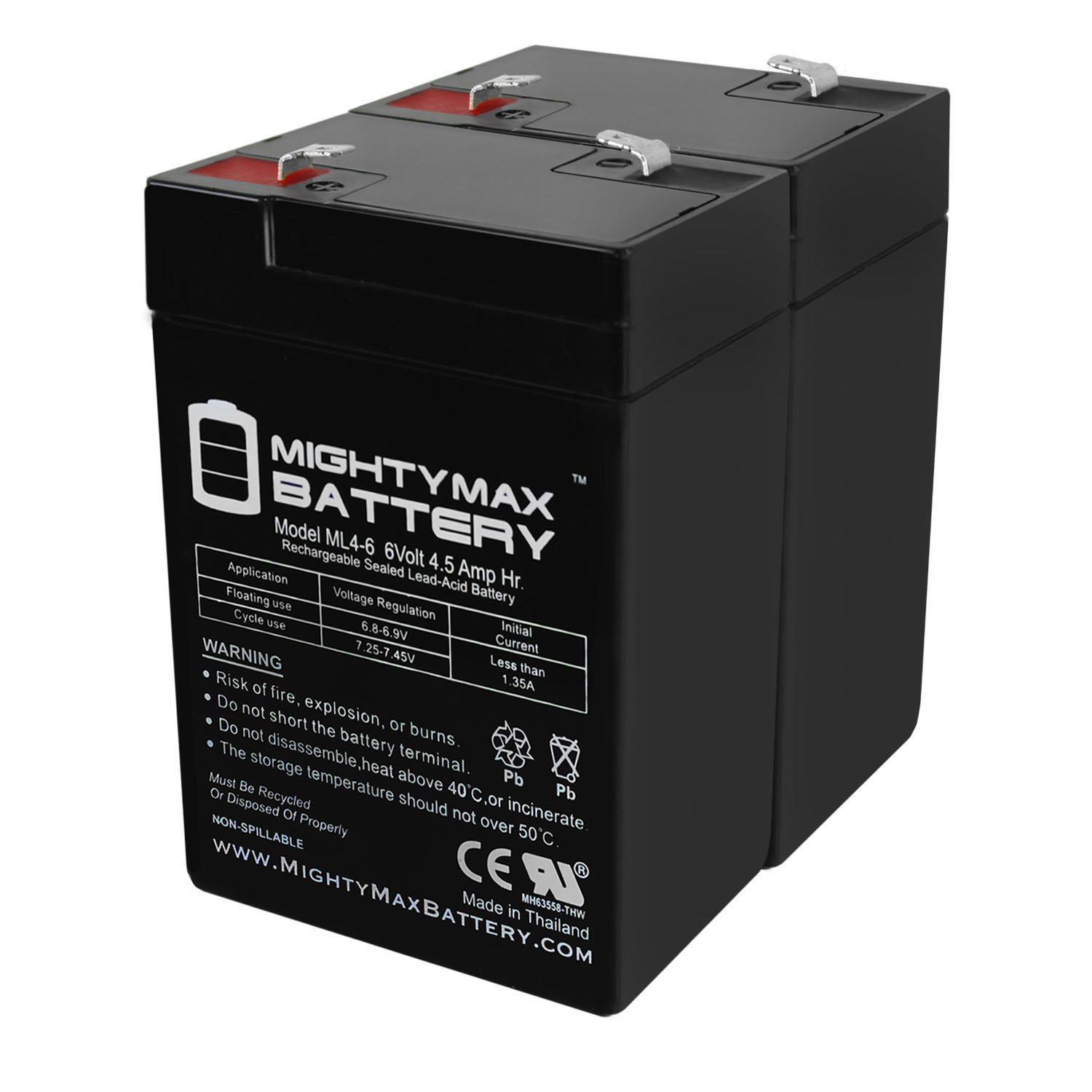 ML4-6 - 6V 4.5AH Replaces APC 200DL Battery - 2 Pack