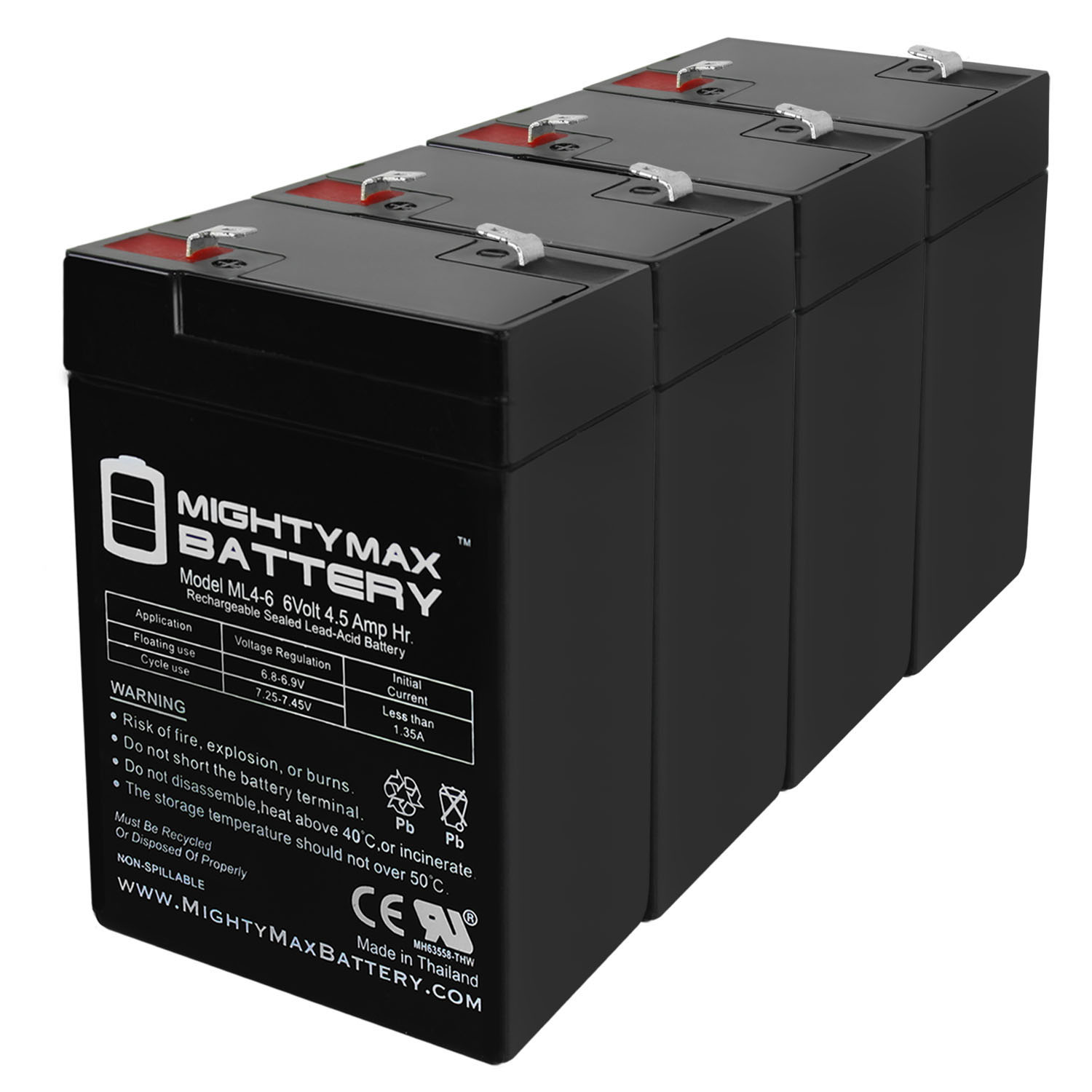 6V 4.5Ah Battery Replacement for APC 370CI - 4 Pack