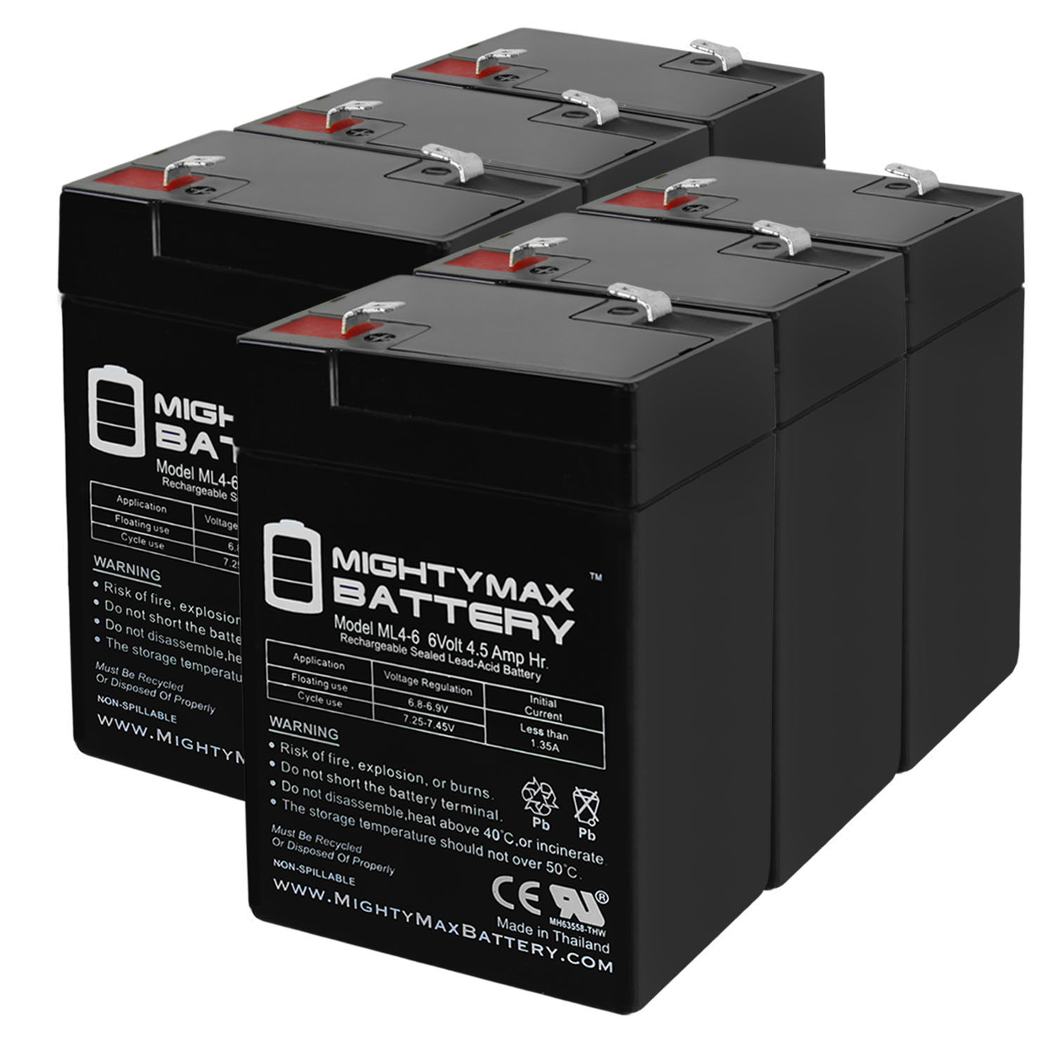 ML4-6 - 6V 4.5AH Replaces APC 200DL Battery - 6 Pack