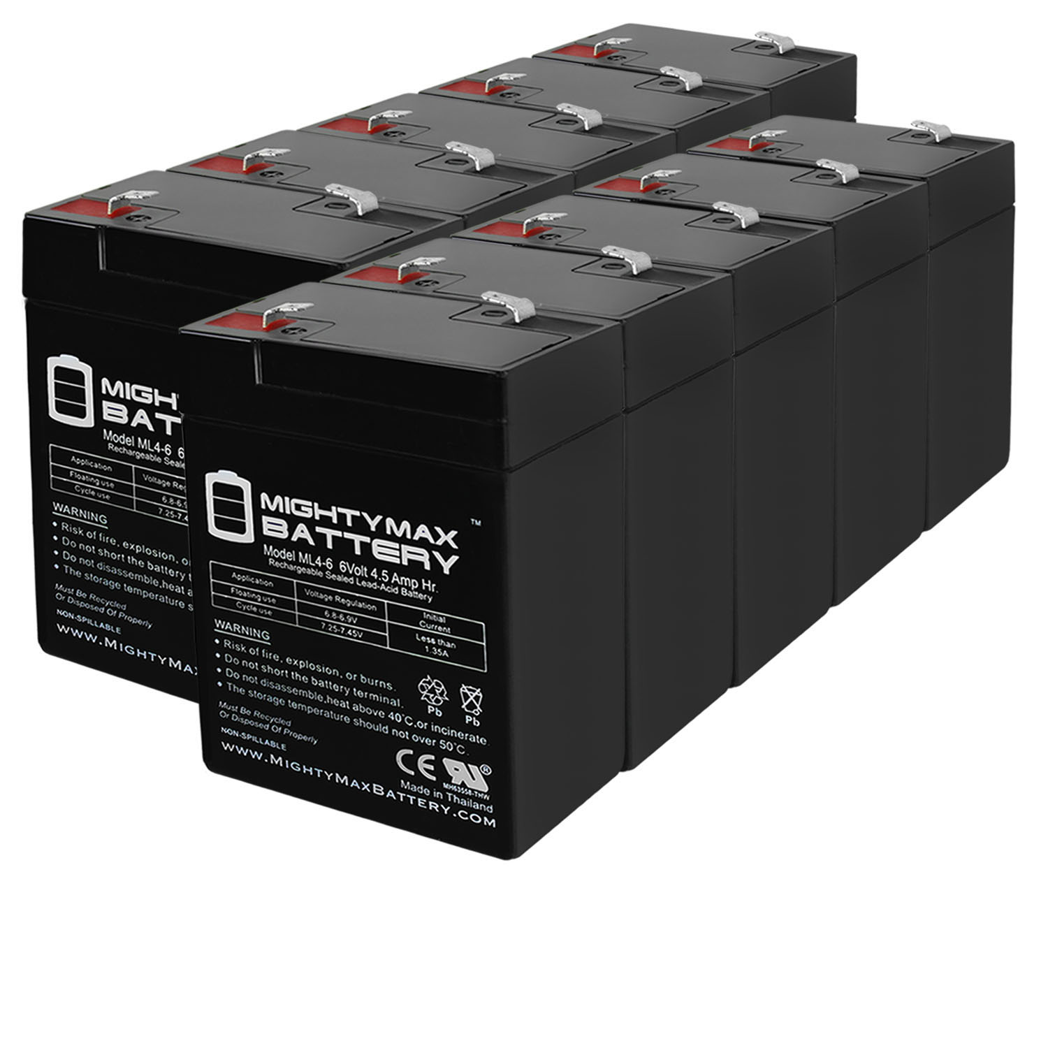 ML4-6 - 6V 4.5AH Replaces APC 200DL Battery - 10 Pack