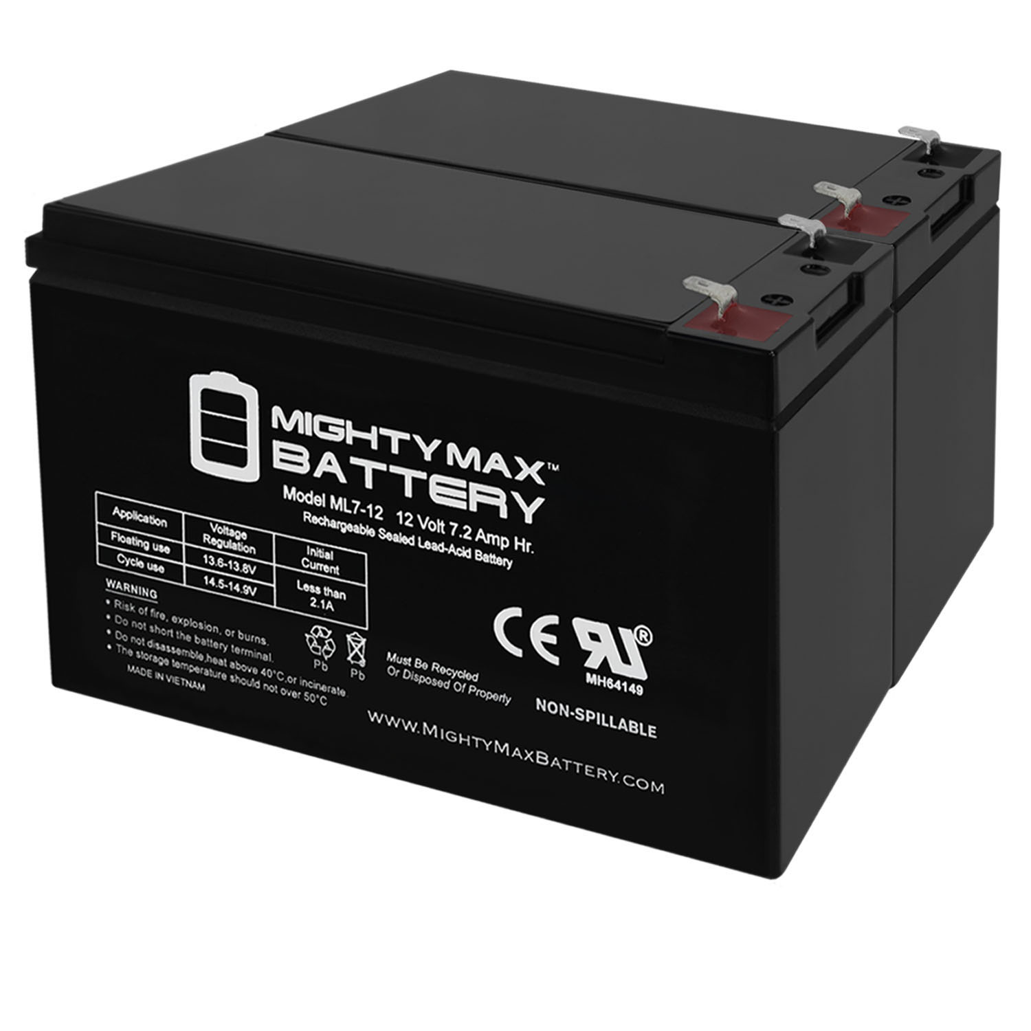 ML7-12 - 12V 7.2AH Replacement Battery for APC BES550R - 2 Pack