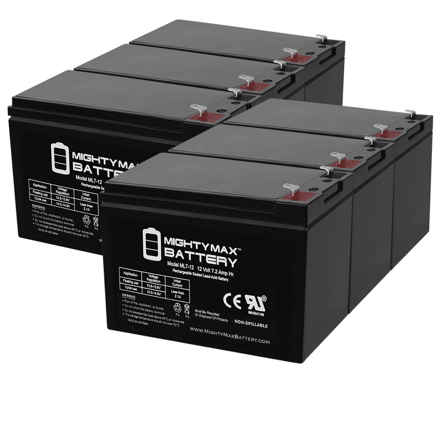 ML7-12 - 12V 7.2AH Replacement Battery for APC BES550R - 6 Pack