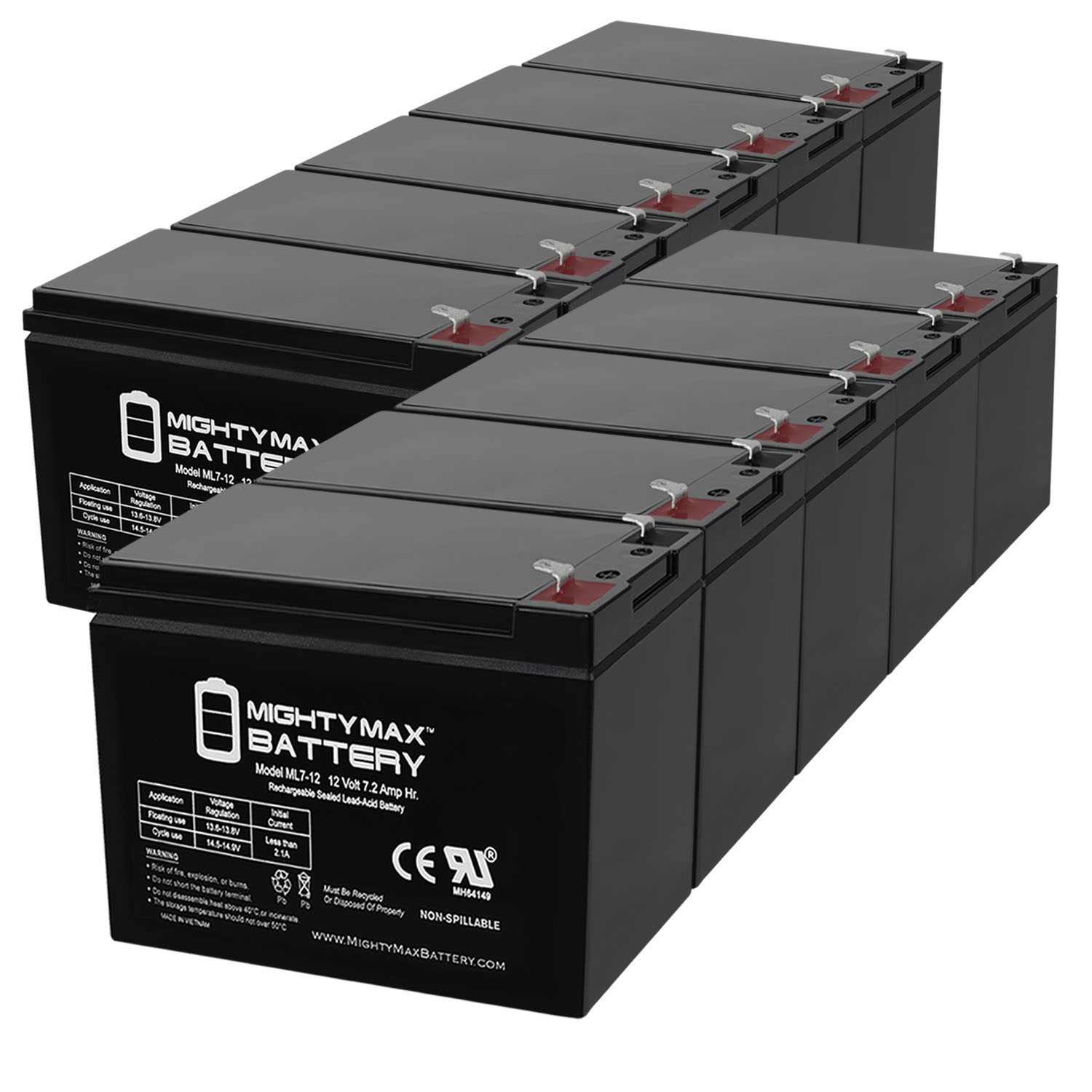 ML7-12 - 12V 7.2AH Replacement Battery for APC BES550R - 10 Pack