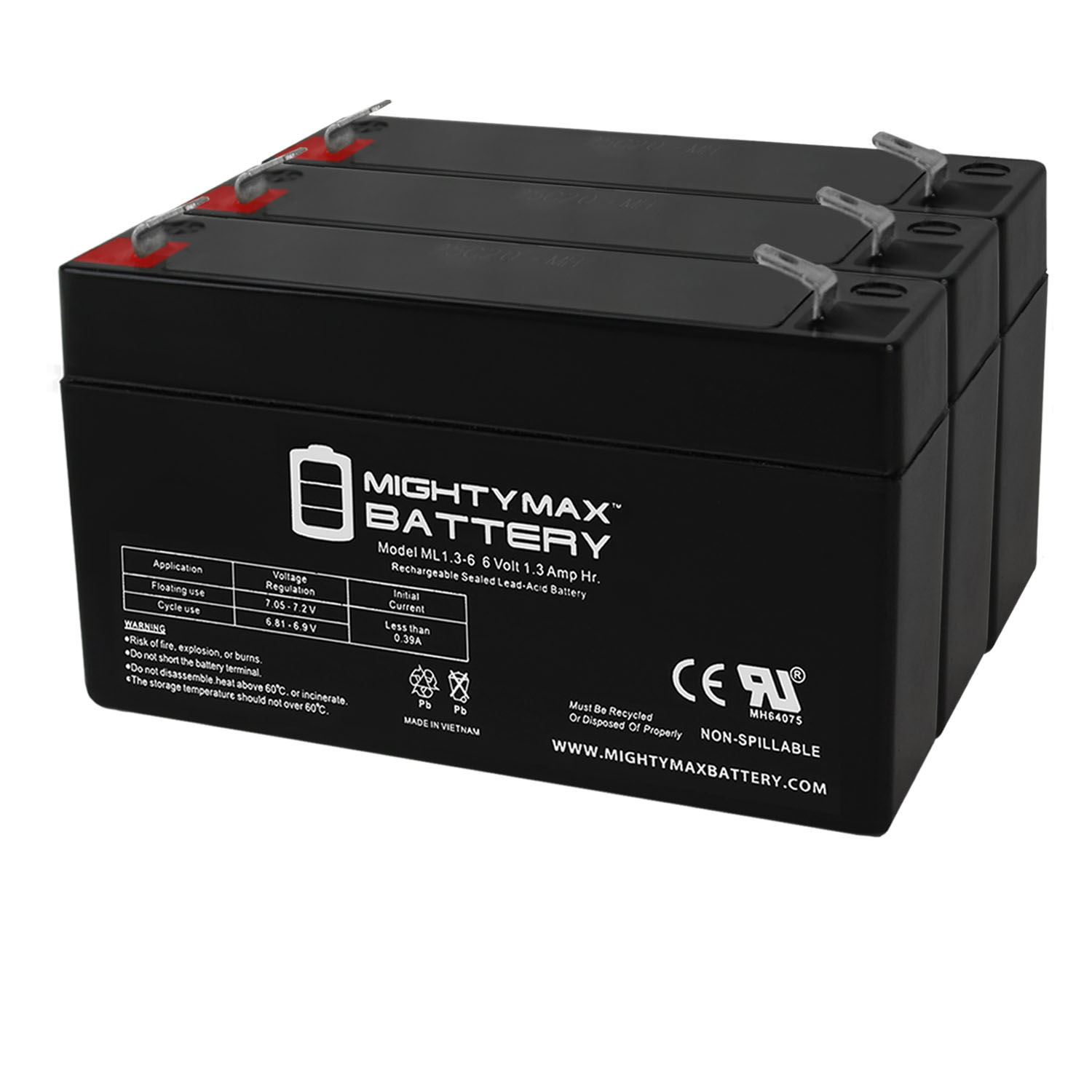 6V 1.3Ah Replacement for MK ES1.2-6 Wheelchair Battery - 3 Pack