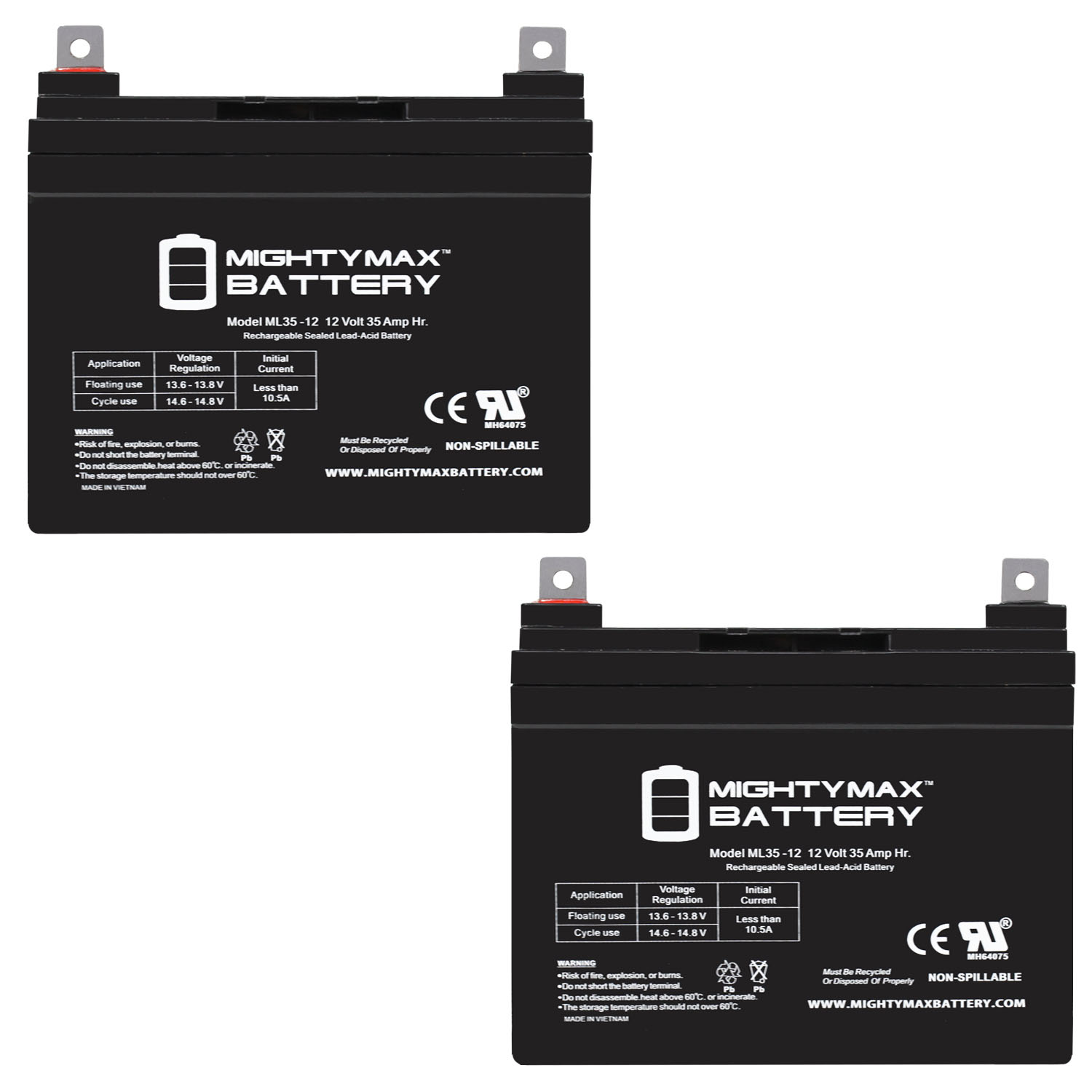 ML35-12 - 12V 35AH UPS Replacement Battery compatible with 33Ah Panasonic LC-R1233P, LCR1233P - 2 Pack