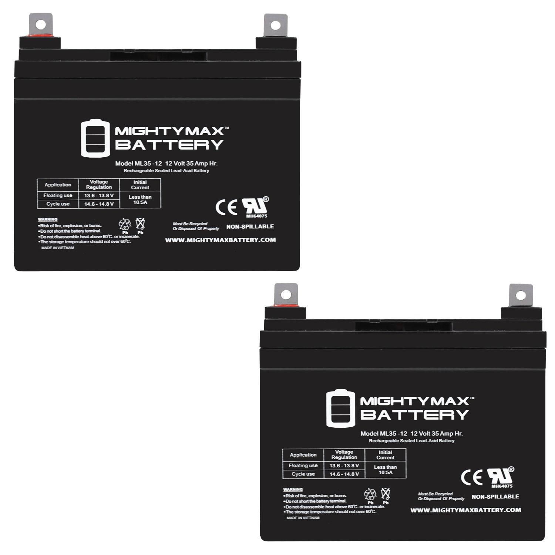 12V 35AH Sealed Lead Acid Battery for Emergency Exit Lighting - 2 Pack