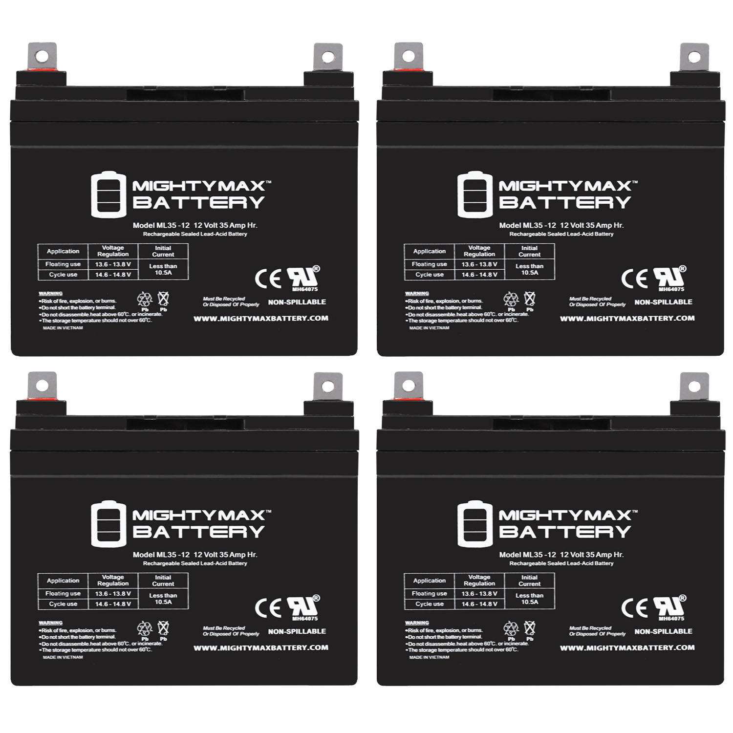 ML35-12 - 12V 35AH UPS Replacement Battery compatible with 33Ah Panasonic LC-R1233P, LCR1233P - 4 Pack