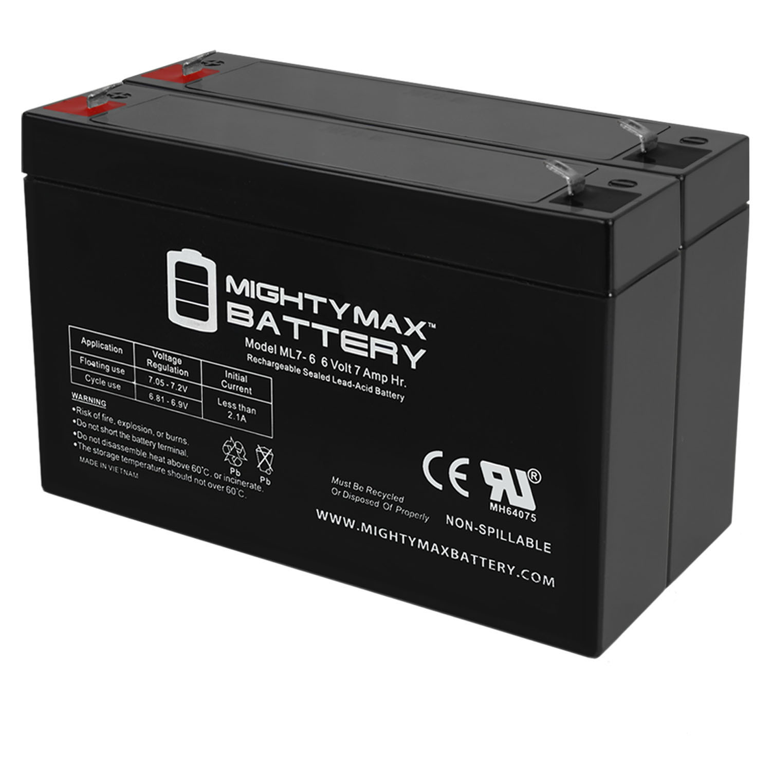 6v 7000 mAh UPS Battery Replacement for GS Portalac PE6V7F1 - 2 Pack