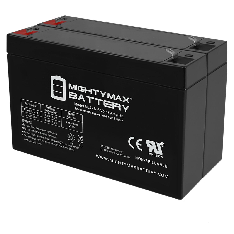6V 7AH Sealed Lead Acid (SLA) Battery for Emergency Exit Lighting AGM - 2 Pack