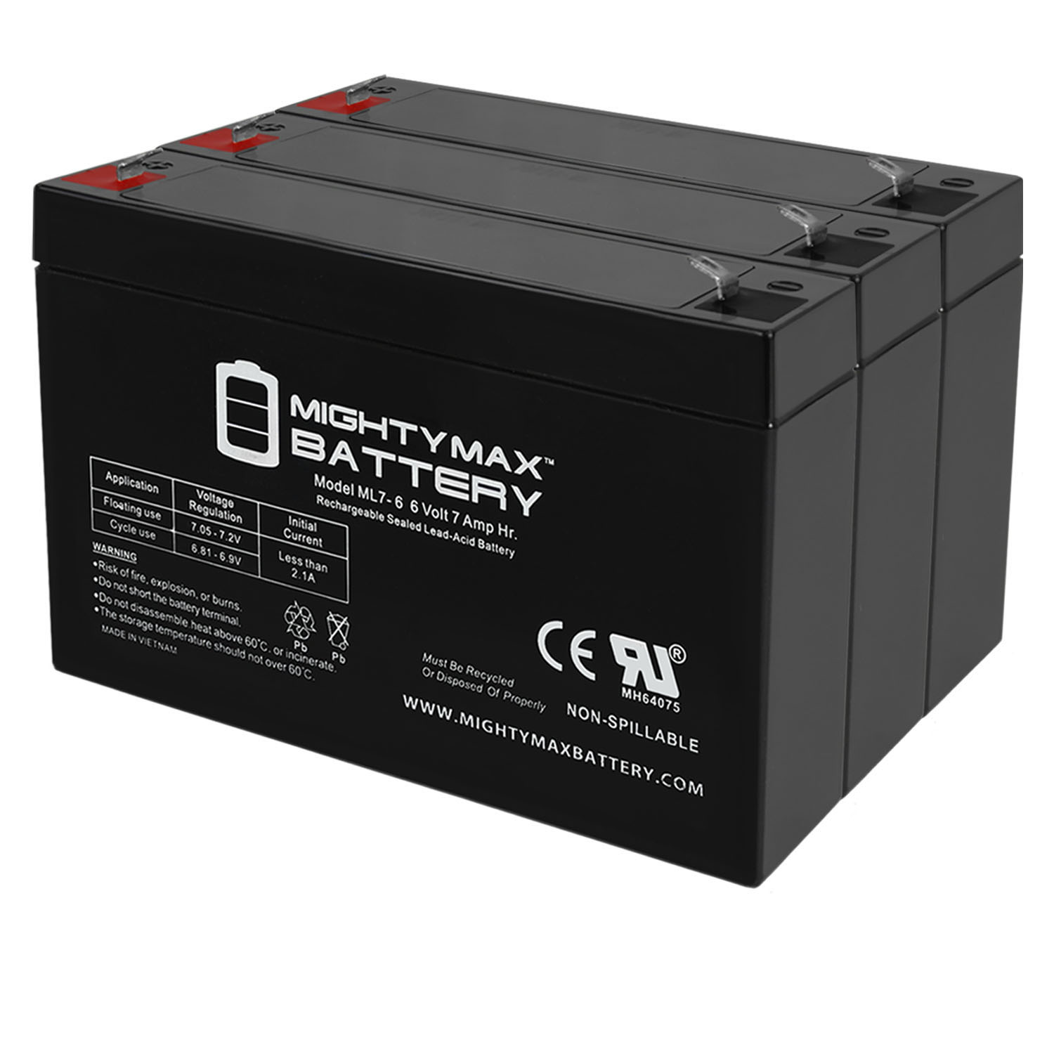 6v 7000 mAh UPS Battery Replacement for GS Portalac PE6V7F1 - 3 Pack