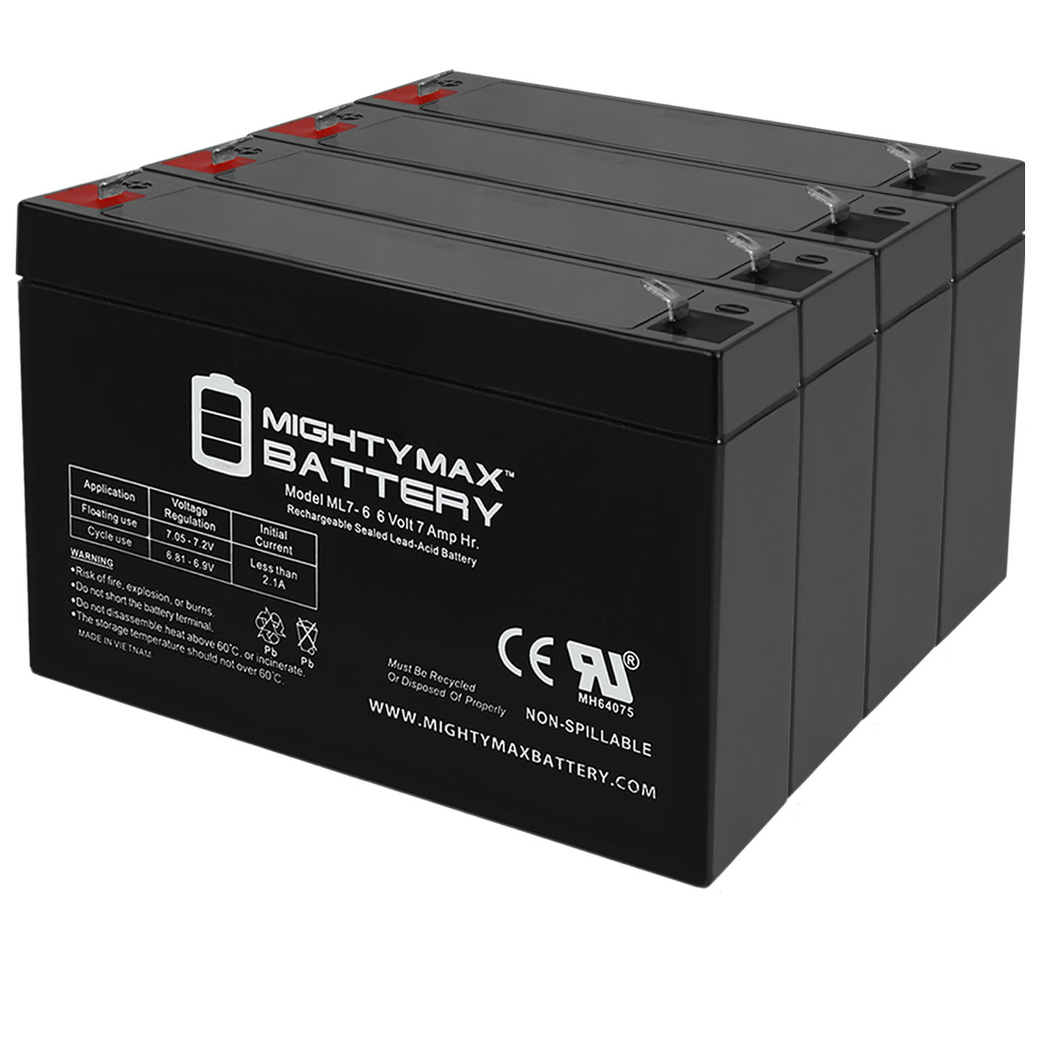 6v 7000 mAh UPS Battery Replacement for GS Portalac PE6V7F1 - 4 Pack