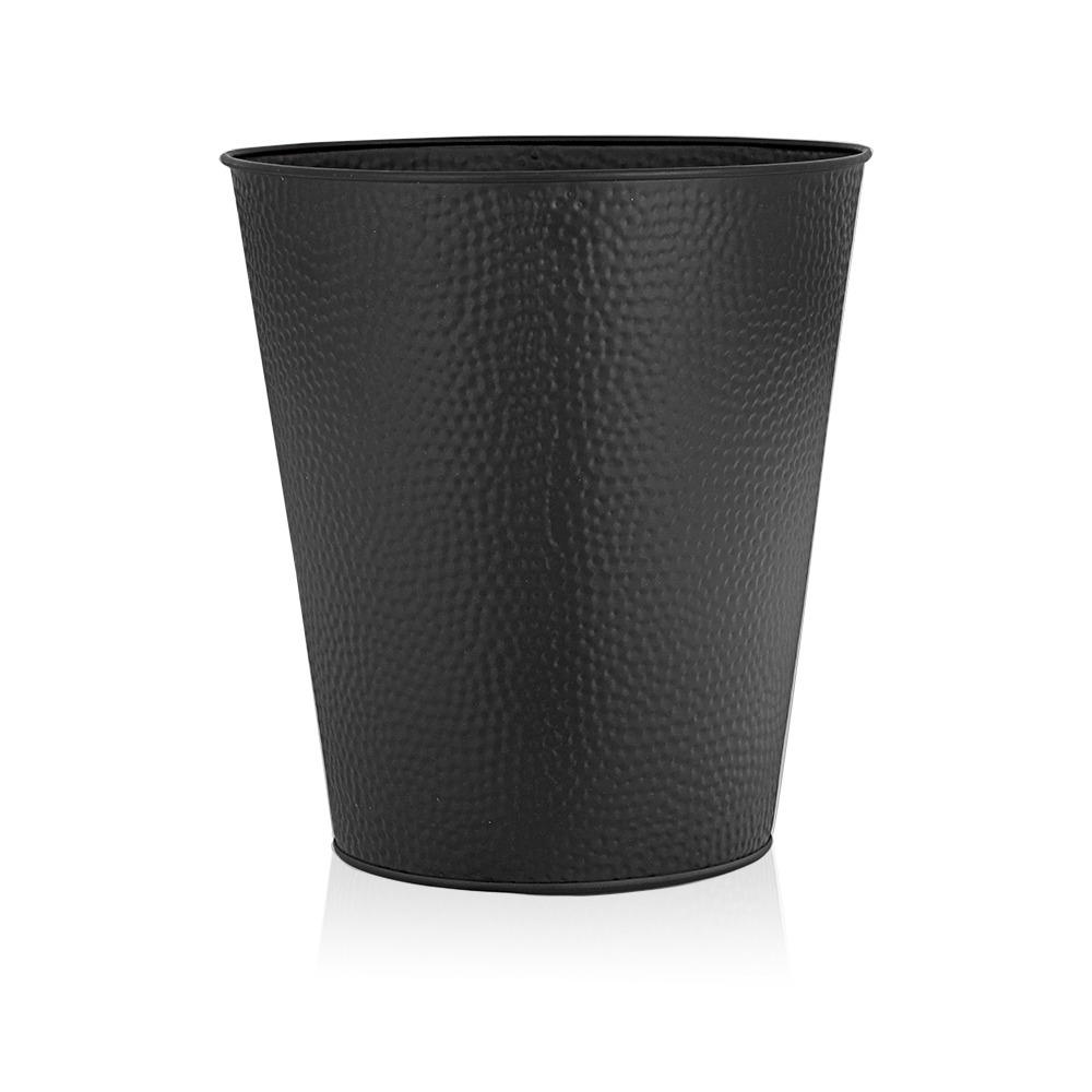 Wastebasket for Bedroom, Bathroom, Trash Can 6 Liters, Black, Stainless Steel