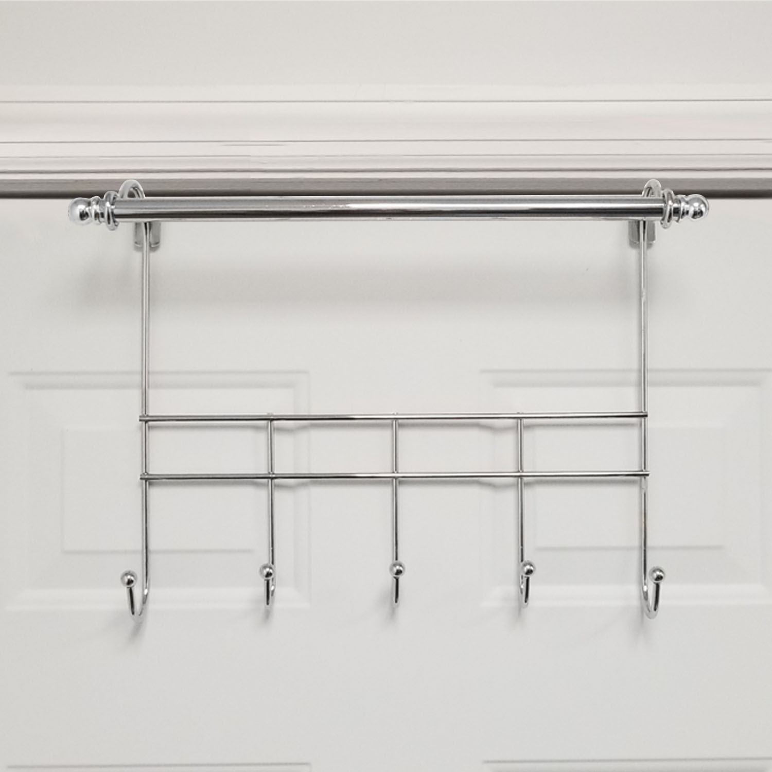 Towel Door Hanger Includes Rack Bar 5 Hooks No Embly Required 17 Inches Wide 2 Inch Over