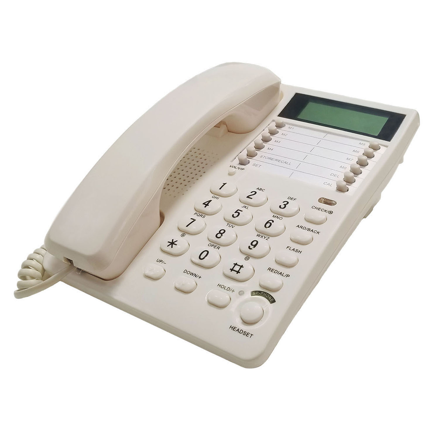 White Caller ID Phone for wall or desk with Speaker and Memory