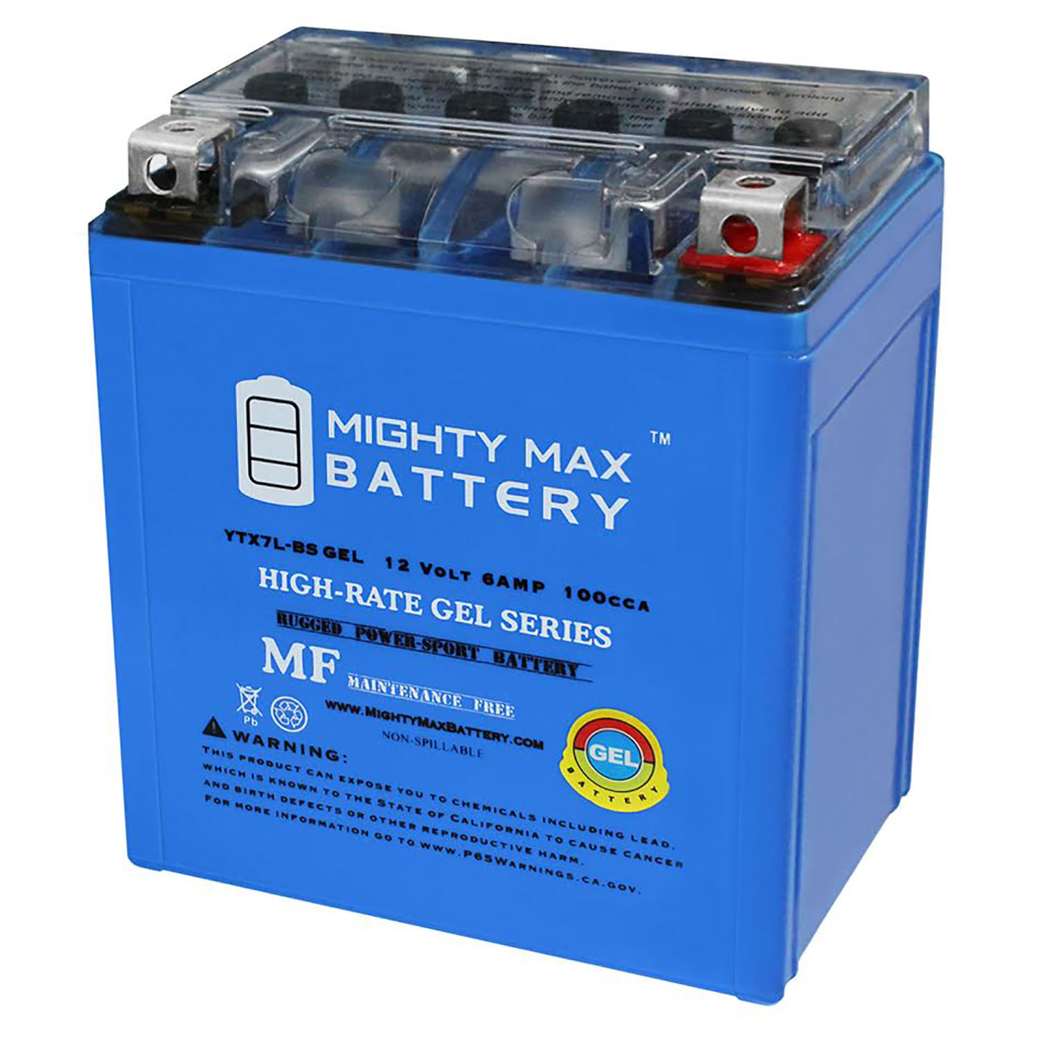 Mighty Max YTX7L-BS GEL Battery for Kawasaki 450 KFX450R 08-13 12V 1AMP CHARGE