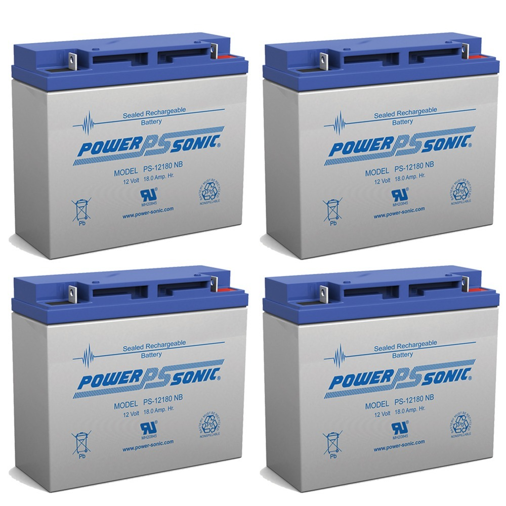 POWER-SONIC 12V 18Ah Solaris Electric Lawn Mower Battery Replaces 24V Battery - 4 Pack