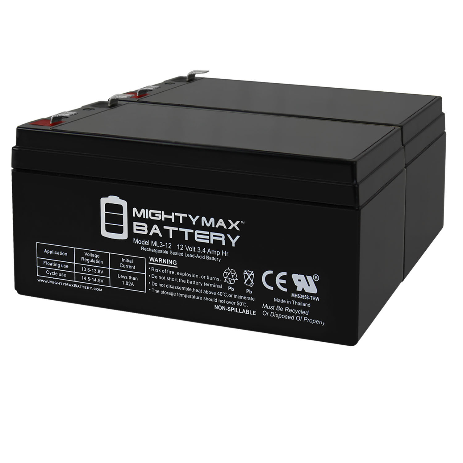 Mighty Max Battery ML3-12 Replacement For Toro Lawn mower # 106-8397 BATTERY-12V 3.4Ah - 2 Pack at Sears.com