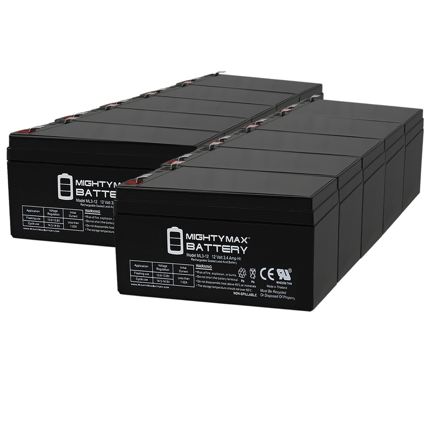 Mighty Max Battery ML3-12 Replacement For Toro Lawn mower # 106-8397 BATTERY-12V 3.4Ah - 10 Pack at Sears.com